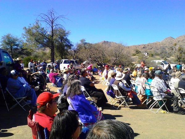 Michael Paul Hill/Facebook Protesters gathered for a day of spiritual succor at Oak Flat, the sacred Apache site that was all but handed over to Resolution Copper in the latest must-pass federal defense-spending bill.